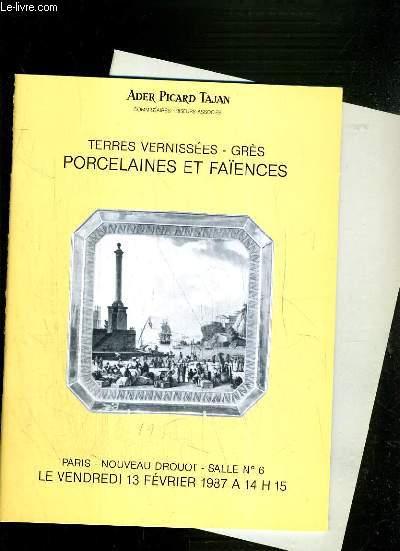 LOT DE 2 CATALOGUES DE VENTE AUX ENCHERES - NOUVEAU DROUOT - TERRES VERNISSEES - GRES - PROCELAINES ET FAIENCES - 13 FEVRIER et 7 JUILLET 1987.