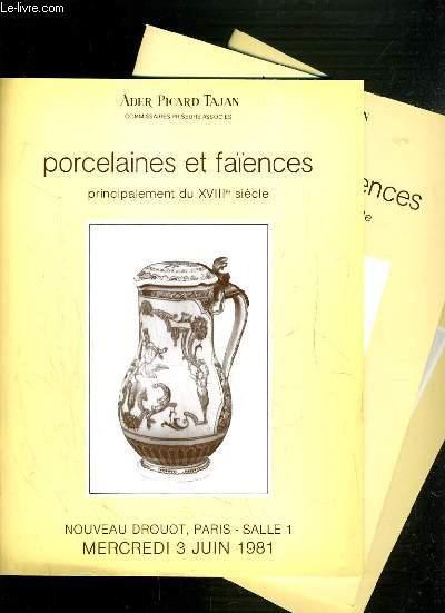 LOT DE 3 CATALOGUES DE VENTE AUX ENCHERES - NOUVEAU DROUOT - PORCELAINES ET FAIENCES PRINCIPALEMENT DU XVIIIe SIECLE - 3 JUIN, 12 MARS et 15 NOVEMBRE 1983.