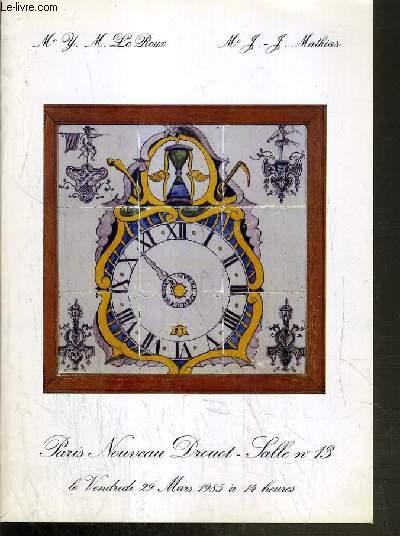 CATALOGUE DE VENTE AUX ENCHERES - NOUVEAU DROUOT - IMPORTANTE COLLECTION DE 1000 CARREAUX EN FAIENCE - PRINCIPALEMENT HOLLANDE XVIIe et XVIIIe SIECLE - SALLE 13 - 29 MARS 1985.