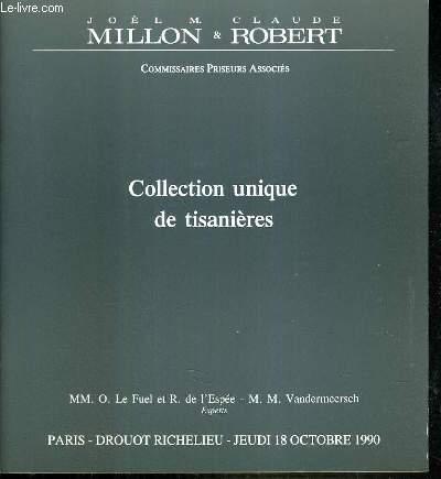 CATALOGUE DE VENTE AUX ENCHERES - DROUOT RICHELIEU - COLLECTION UNIQUE DE TISANIERES - SALLE 12 - 18 OCTOBRE 1990.