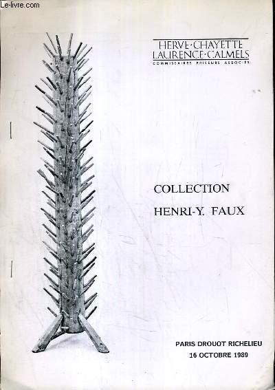 CATALOGUE DE VENTE AUX ENCHERES - DROUOT RICHELIEU - COLLECTION HENRI-Y FAUX - SALLE 11 - 16 OCTOBRE 1989.