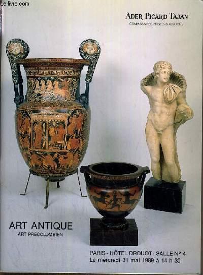 CATALOGUE DE VENTE AUX ENCHERES - HOTEL DROUOT - ART ANTIQUE - ART PRECOLOMBIEN - SALLE 4 - 31 MAI 1989.