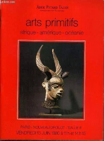 CATALOGUE DE VENTE AUX ENCHERES - NOUVEAU DROUOT - ART PRIMITIFS - AFRIQUE - AMERIQUE - OCEANIE - SALLE 8 - 13 JUIN 1980.