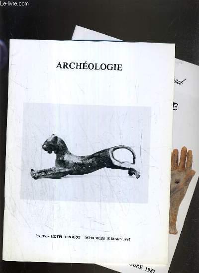 LOT 2 CATALOGUES DE VENTE AUX ENCHERES - DROUOT - ARCHEOLOGIE - 18 MARS et 12 OCTOBRE 1987.