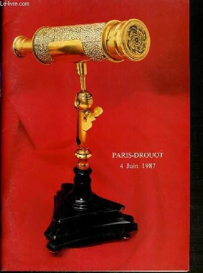 CATALOGUE DE VENTE AUX ENCHERES - NOUVEAU DROUOT - SCIENCE ET TECHNIQUE - SALLE 7 - 4 JUIN 1987.