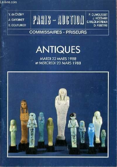 CATALOGUE DE VENTE AUX ENCHERES - NOUVEAU DROUOT - ARCHEOLOGIE - EGYPTE - GRECE - ROME - SYRIE - SALLES 8 et 1 - 22 et 23 MARS 1988.