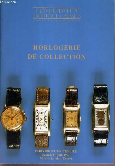 CATALOGUE DE VENTE AUX ENCHERES - DROUOT RICHELIEU - HORLOGERIE DE COLLECTION - SALLE 8 - 1er JUIN 1991.