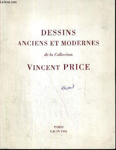 CATALOGUE DE VENTE AUX ENCHERES - HOTEL DROUOT - ESTAMPES - DESSINS ANCIENS ET MODERNES DE LA COLLECTION VINCENT PRICE - SALLE 9 - 8 JUIN 1994.