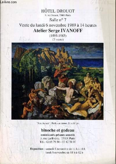 CATALOGUE DE VENTE AUX ENCHERES - HOTEL DROUOT - ATELIER SERGE IVANOFF (1893-1983) - 2ème VENTE - SALLE 7 - 6 NOVEMBRE 1989.
