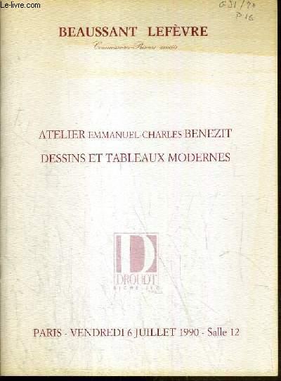 CATALOGUE DE VENTE AUX ENCHERES - DROUOT RICHELIEU - ATELIER EMMANUEL-CHARLES BENEZIT - DESSINS ET TABLEAUX MODERNES - SALLE 12 - 6 JUILLET 1990.