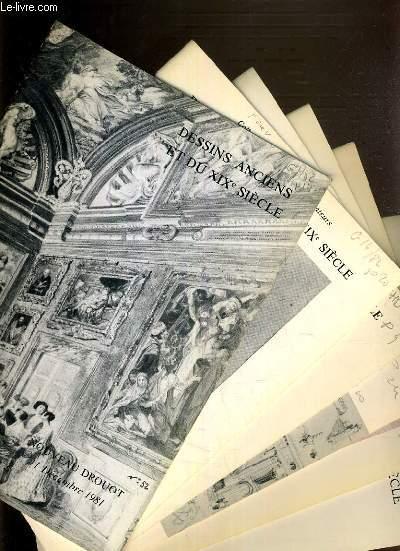 LOT DE 6 CATALOGUES DE VENTE AUX ENCHERES - DROUOT - DESSINS ANCIENS ET DU XIXe SIECLE - 11 DEC. 1981 - 19 MARS 1982 - 5 DEC 1983 - 13 NOV. 1985 - 14 NOV. 1986 - 26 JUIN 1987.