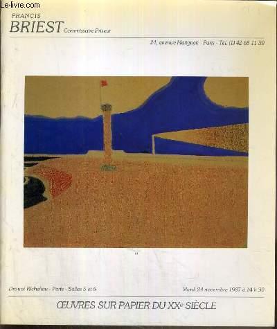CATALOGUE DE VENTE AUX ENCHERES - DROUOT RICHELIEU - OEUVRES SUR PAPIER DU XXe SIECLE - SALLES 5 et 6 - 24 NOVEMBRE 1987.