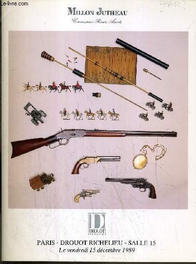 CATALOGUE DE VENTE AUX ENCHERES - DROUOT RICHELIEU - CANNES DE COLLECTION A SYSTEMES ET DECORATIVES - SOUVENIRS HISTORIQUES - ARMES - SALLE 15 - 15 DECEMBRE 1989.