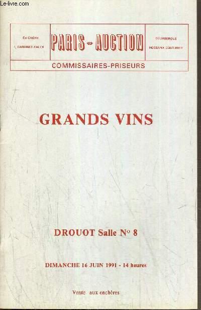 CATALOGUE DE VENTE AUX ENCHERES - DROUOT - GRANDS VINS - SALLE 8 - 16 JUIN 1991.