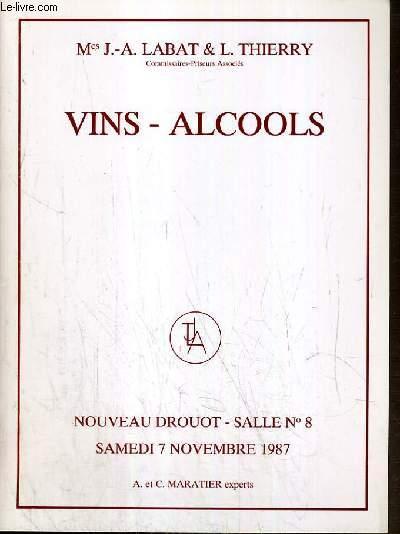 CATALOGUE DE VENTE AUX ENCHERES - NOUVEAU DROUOT - VINS - ALCOOLS - SALLE 8 - 7 NOVEMBRE 1987.