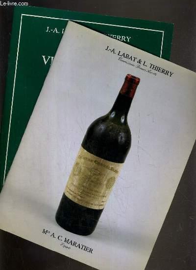 LOT DE 2 CATALOGUES DE VENTE AUX ENCHERES - DROUOT RICHELIEU - TRES GRANDS VINS ET ALCOOLS - 9 JUIN 1990 - 18 OCTOBRE 1991.