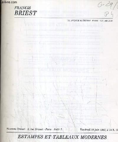 CATALOGUE DE VENTE AUX ENCHERES - NOUVEAU DROUOT - ESTAMPES ET TABLEAUX MODERNES - SALLE 1 - 28 JUIN 1985.