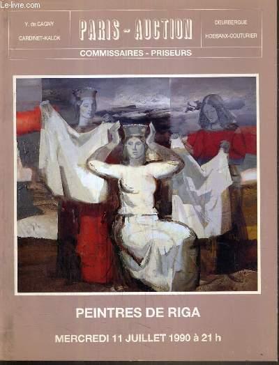 CATALOGUE DE VENTE AUX ENCHERES - DROUOT - PEINTRES DE RIGA - SALLES 1 et 7 - 11 JUILLET 1990.