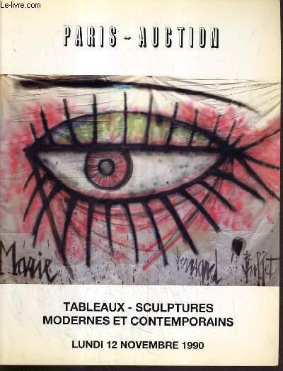 CATALOGUE DE VENTE AUX ENCHERES - DROUOT - TABLEAUX - SCULPTURES MODERNES ET CONTEMPORAINES - SALLE 1 - 12 NOVEMBRE 1990.