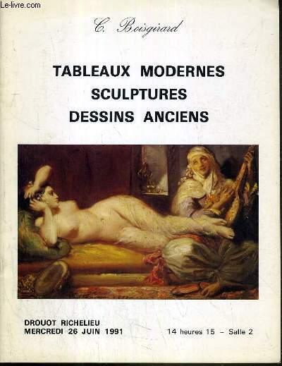 CATALOGUE DE VENTE AUX ENCHERES - DROUOT RICHELIEU - TABLEAUX MODERNES - SCULPTURES - DESSINS ANCIENS - SALLE 2 - 26 JUIN 1991.