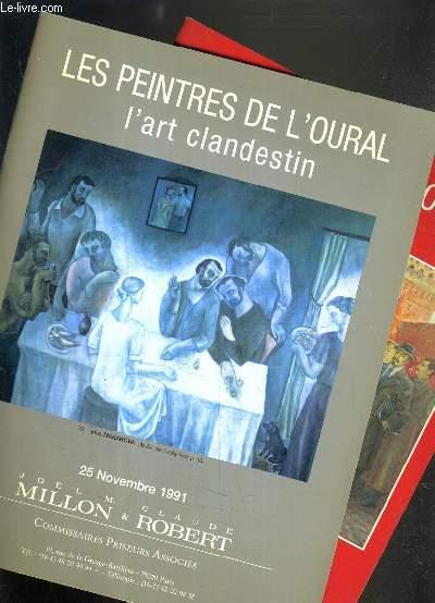LOT DE 2 CATALOGUES DE VENTE AUX ENCHERES - DROUOT RICHELIEU - LES PEINTRES DE L'OURAL - L'ART CLANDESTIN - 25  NOVEMBRE et 11 DECEMBRE 1991.