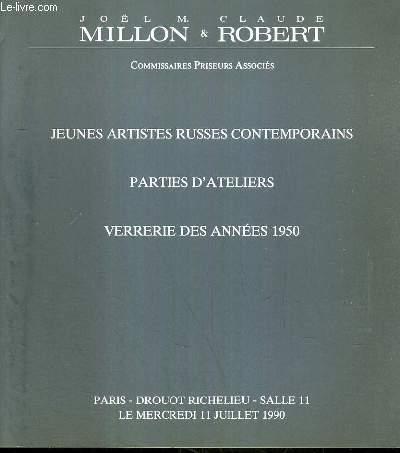 CATALOGUE DE VENTE AUX ENCHERES - DROUOT RICHELIEU - JEUNES ARTISTES RUSSES CONTEMPORAINS - PARTIES D'ATELIERS - VERRERIE DES ANNEES 1950 - SALLE 11 - 11 JUILLET 1990.