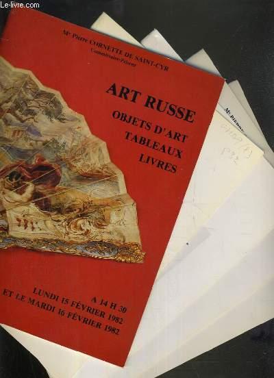 LOT DE 5 CATALOGUES DE VENTE AUX ENCHERES - ART RUSSE - OBJETS D'ART - TALBEAUX - LIVRES - 15 et 16 FEV. 1982 - 11 FEV . - 25 NOV. 1983 - 13 FEV. 1984 - 15 DEC. 1986