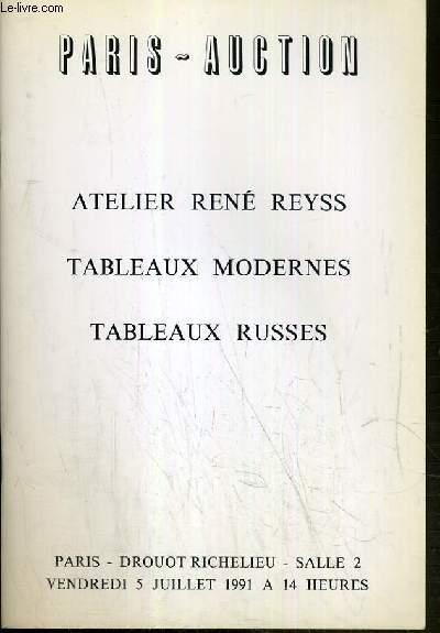 CATALOGUE DE VENTE AUX ENCHERES - DROUOT RICHELIEU - ATELIER RENE REYSS - TALBEAUX MODERNES - TALBEAUX RUSSES - SALLE 2 - 5 JUILLET 1991.