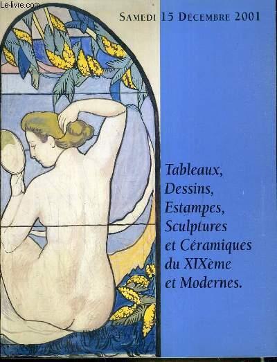 CATALOGUE DE VENTE AUX ENCHERES - PONTOISE -  TABLEAUX - DESSINS - ESTAMPES - SCULPTURES ET CERAMIQUES DU XIXe et MODERNES - 15 DECEMBRE 2001.