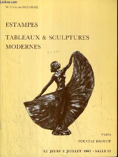 CATALOGUE DE VENTE AUX ENCHERES - NOUVEAU DROUOT - ESTAMPES - TABLEAUX & SCULPTURES MODERNES - SALLE 13 - 2 JUILLET 1981.