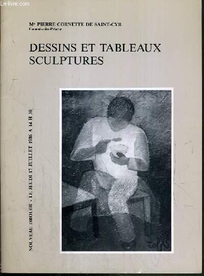 CATALOGUE DE VENTE AUX ENCHERES - NOUVEAU DROUOT - DESSINS ET TABLEAUX SCULPTURES - SALLE 1 - 17 JUILLET 1986.