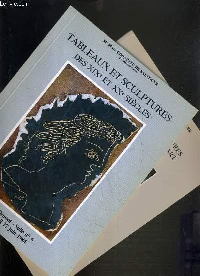 LOT DE 2 CATALOGUES DE VENTE AUX ENCHERES - TABLEAUX ET SCULPTURES DES XIXe et XXe SIECLES - NOUVEAU DROUOT - 27 JUIN 1984 et 9 NOVEMBRE 1987.