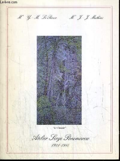 CATALOGUE DE VENTE AUX ENCHERES - NOUVEAU DROUOT - ATELIER SERGE PONOMAREW (1911-1984) - PLATRES - DESSINS - PEINTURES - SCULPTURES - SALLE 15 - 22 OCTOBRE 1986.