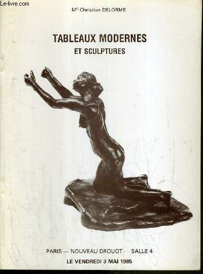 CATALOGUE DE VENTE AUX ENCHERES - NOUVEAU DROUOT - TABLEAUX MODERNES ET SCULPTURES - SALLE 4 - 3 MAI 1985.