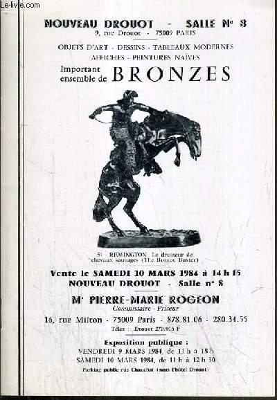 CATALOGUE DE VENTE AUX ENCHERES - NOUVEAU DROUOT - OBJETS D'ART - DESSINS - TABLEAUX MODERNES - AFFICHES - PEINTURES NAIVES - IMPORTANT ENSEMBLE DE BRONZES - SALLE 8 - 10 MARS 1984.