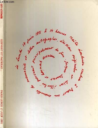 CATALOGUE DE VENTE AUX ENCHERES - HOTEL DROUOT - XXe SIECLE - MANUSCRITS ET LETTRES AUTOGRAPHES - EDITIONS ORIGINALES - LIVRES ILLSUTRES - SALLE 2 - 17 JUIN 1991.