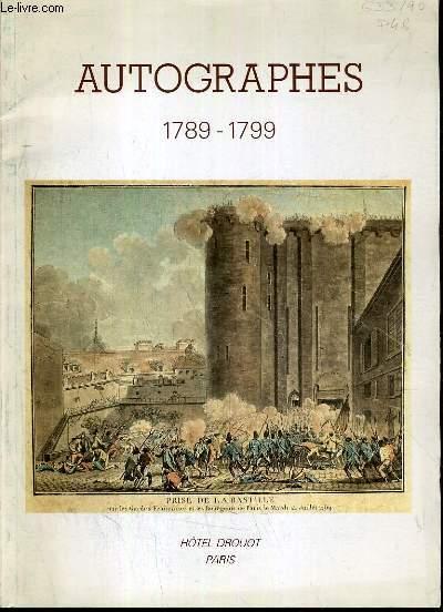 CATALOGUE DE VENTE AUX ENCHERES - HOTEL DROUOT - AUTOGRAPHES (1789-1799) - AUTOGRAPHES ET DOCUMENTS HISTORIQUES SUR LA REVOLUTION FRANCAISE - SALLE 2 - 17 MAI 1990.