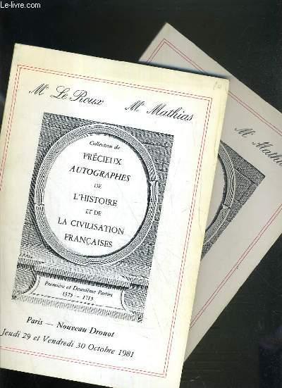 LOT DE 2 CATALOGUES DE VENTE AUX ENCHERES - NOUVEAU DROUOT - PRECIEUX AUTOGRAPHES DE L'HISTOIRE ET DE LA CIVILISATION FRANCAISES - 29 et 30 OCTOBRE 1981 et 15 et 16 MARS 1983.
