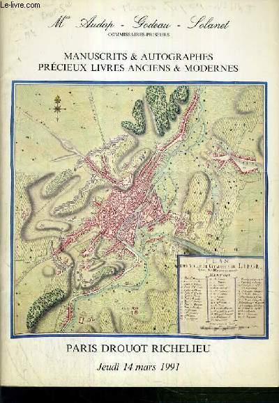 CATALOGUE DE VENTE AUX ENCHERES - DROUOT RICHELIEU - MANUSCRITS & AUTOGRAPHES - PRECIEUX LIVRES ANCIENS & MODERNES - 14 MARS 1991.