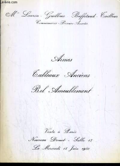 CATALOGUE DE VENTE AUX ENCHERES - NOUVEAU DROUOT - ARMES - TABLEAUX ANCIENS - BEL AMEUBLEMENT - SALLE 13 - 18 JUIN 1980.
