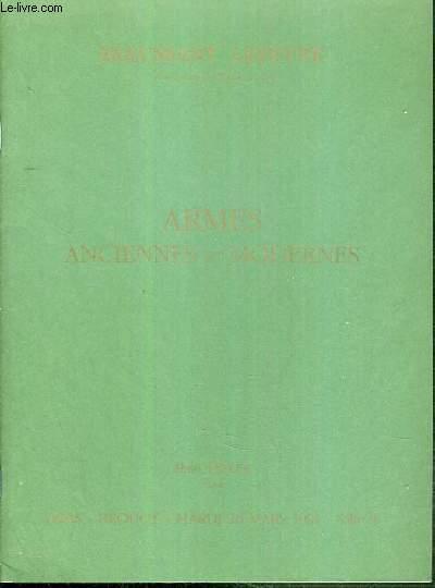 CATALOGUE DE VENTE AUX ENCHERES - DROUOT RICHELIEU - ARMES ANCIENNES ET MODERNES - SALLE 9 - 26 MARS 1991.