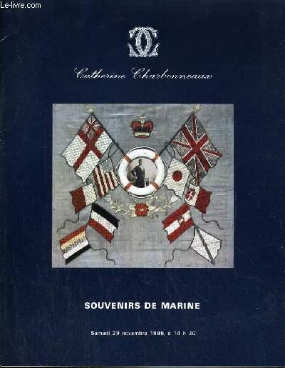 CATALOGUE DE VENTE AUX ENCHERES - DROUOT - SOUVENIRS DE MARINE - ART POPULAIRE - SALLE 6 - 29 NOVEMBRE 1986.