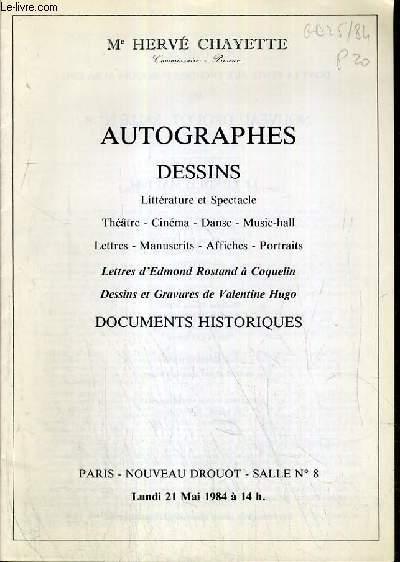 CATALOGUE DE VENTE AUX ENCHERES - NOUVEAU DROUOT - AUTOGRAPHES - DESSINS - LITTERATURE ET SPECTACLE - THEATRE - CINEMA - DANSE - MUSIC-HALL - SALLE 8 - 21 MAI 1984.