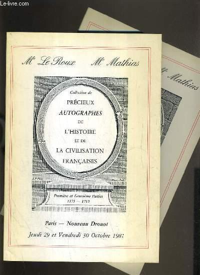LOT DE 2 CATALOGUES DE VENTE AUX ENCHERES - DROUOT - COLLECTION DE PRECIEUX AUTOGRAPHES DE L'HISTOIRE ET DE LA CIVILISATION FRANCAISES - 29 et 30 OCTOBRE 1981 - 19 AVRIL 1985.