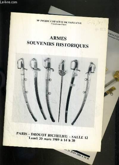 LOT DE 2 CATALOGUES DE VENTE AUX ENCHERES - DROUOT RICHELIEU - ARMES - SOUVENIRS HISTORIQUES - 20 MARS - 21 JUIN 1989.
