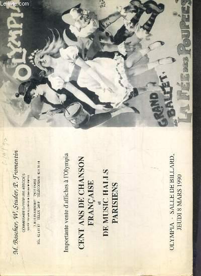 CATALOGUE DE VENTE AUX ENCHERES - OLYMPIA - SALLE DE BILLARD - IMPORTANTE VENTE D'AFFICHES A L'OLYMPIA - 100 ANS DE CHANSON FRANCAISE ET DE MUSIC-HALLS PARISIENS - 8 MARS 1990.