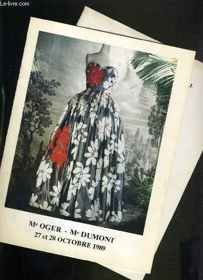 LOT DE 2 CATALOGUES DE VENTE AUX ENCHERES - DROUOT RICHELIEU - COLLECTION D'ENVIRON 250 EVENTAILS XVIIIe, XIXe  ET DU DEBUT DU XXe SIECLE - ROBES DE GRANDS COUTURIERS - 27 et 28 OCTOBRE 1989 - 19 NOVEMBRE 1990.