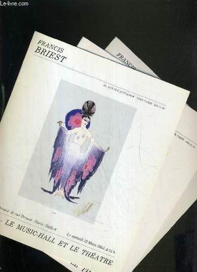 LOT DE 3 CATALOGUES DE VENTE AUX ENCHERES - NOUVEAU DROUOT - L'ART - LE MUSIC-HALL ET LE THEATRE - 12 MARS - 22 OCTOBRE 1983 - 17 MARS 1984.