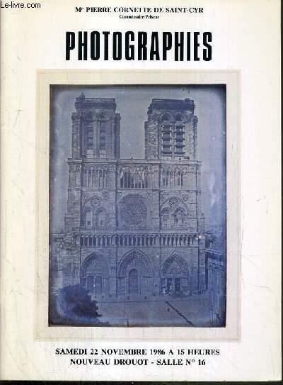 CATALOGUE DE  VENTE AUX ENCHERES - NOUVEAU DROUOT - PHOTOGRAPHIES - SALLE 16 - 22 NOVEMBRE 1986.