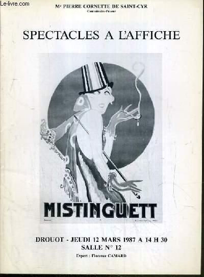 CATALOGUE DE VENTE AUX ENCHERES - NOUVEAU DROUOT - SPECTACLES A L'AFFICHE - SALLE 12 - 12 MARS 1987.